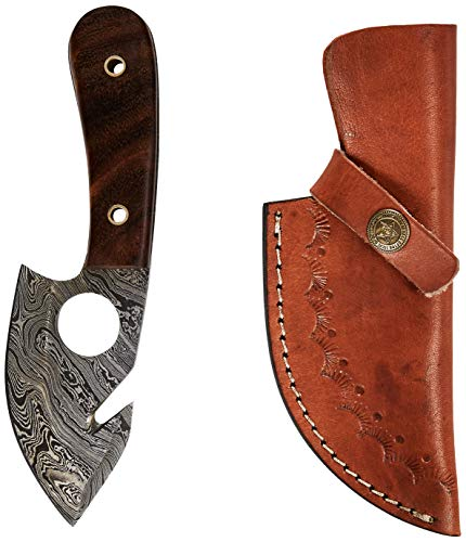 Hunting Skinning Knife, Damascus Steel Knife, Bush Knife, Survival Knife, Knife with Sheath. Great for Hunting, Camping, Survival and Bugout Bag