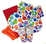 polka dot party supplies - Birthday Party Supply Pack for 16 Guests - Brightly Colored Rainbow Dots