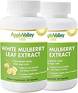 Pure White Mulberry Leaf Extract Premium 500mg | Natural High & Low Blood Sugar Control & Weight Loss Support Supplement – Increases Energy (60 Veggie Capsule Pills of 500mg)