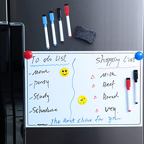POPRUN Magnetic Dry Erase Whiteboard 17 x 11 inches for Kitchen Fridge with New Stain Resistant Technology,Refrigerator Whiteboard Planner Including 6 Makers and 1 Eraser with Magnets (Refrigerator Manuals)