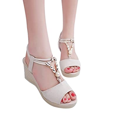 d1dea879b4a2 Women Roman Style Wedges String Bead Sandals Ankle Strap Open Toe Shoes  (Beige