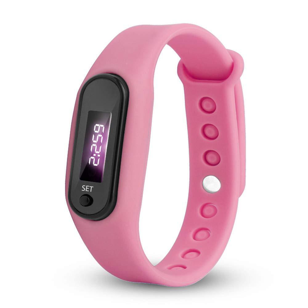 Women Men Unisex Watches Sports Walking Running Outdoor Pedometer Watch Calorie Bracelet for Kids Women Men (Pink)