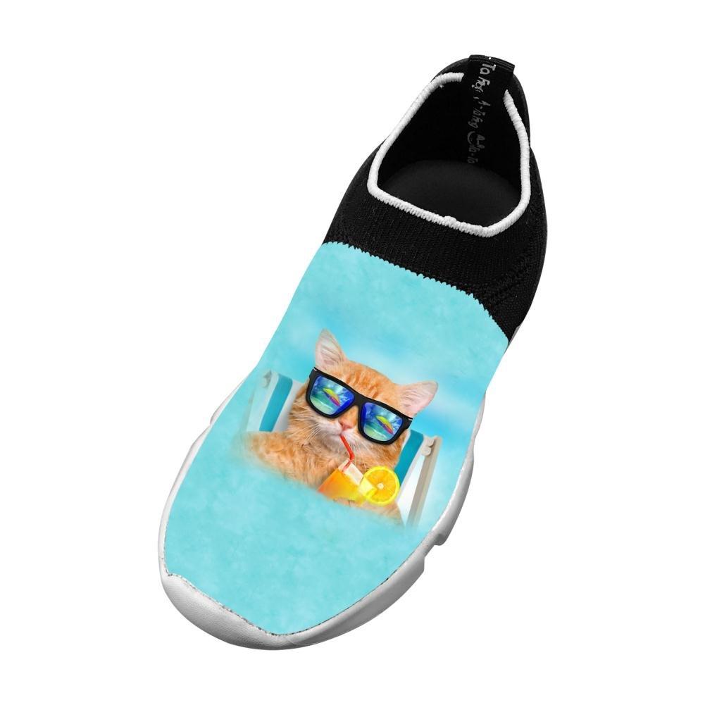 Sports Flyknit Sneaker For Unisex Kid,Print Cat Wearing Sunglasses,2 B(M) Us Big Kid