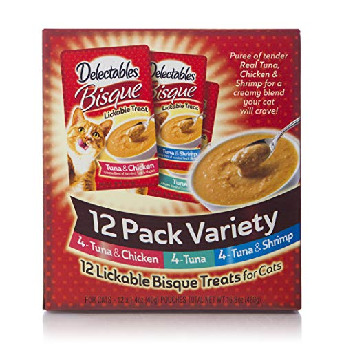 Delectables Bisque Lickable Wet Cat Treats - Chicken, Tuna & Shrimp - 12 Pack Variety ()