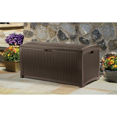 Weather Resistant Patio Pool Deck Storage Box- This Custom Mocha Wicker Resin Basket Is Perfect For Storing Your Gear, Tools, Towels, Cushions, Pool Outdoor Toys- Full 99 Gallon Capacity Lightweight