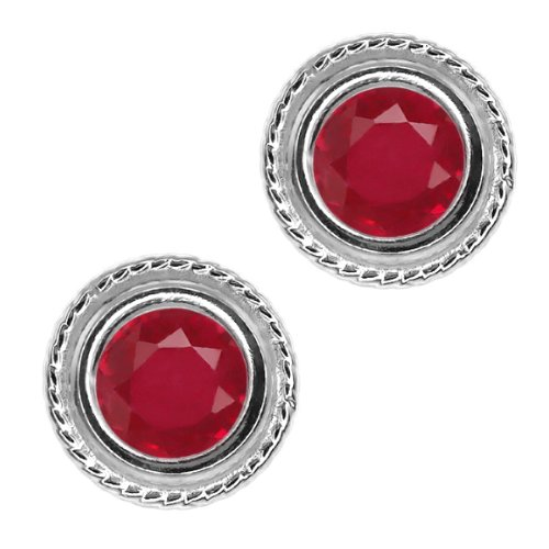 Round Sterling Silver bezel Earrings product image
