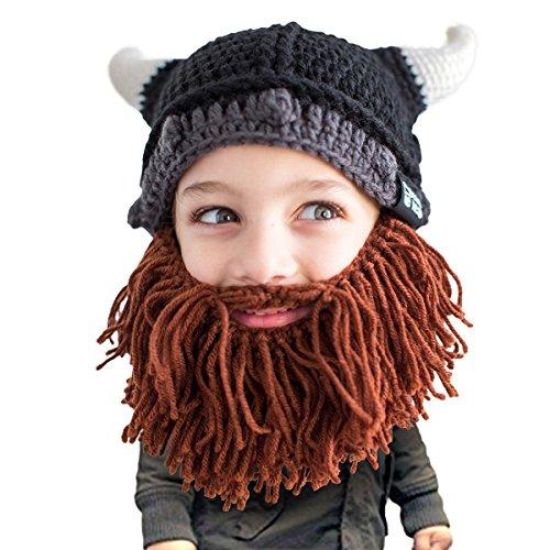 Beard Head Kid Viking Beard Beanie - Horned Hat and Fake Beard for Kids Toddlers Brown -