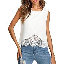 kaifongfu Women Chiffon Lace Vest Top,Women Sleeveless Casual Tank Blouse Summer Tops T-Shirt Lace Stitching Vest Top