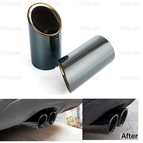 2Pcs Black Stainless Steel Exhaust Muffler Tail Pipe Tip Tailpipe for VW Jetta 2012-2018 Yingchi