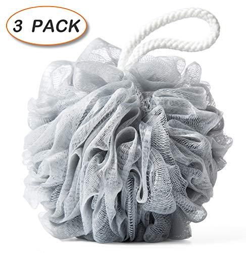 (Bath Shower Loofah Sponge 75g Pouf Body Scrubber Ball Mesh Bath Sponge 3 Pack)