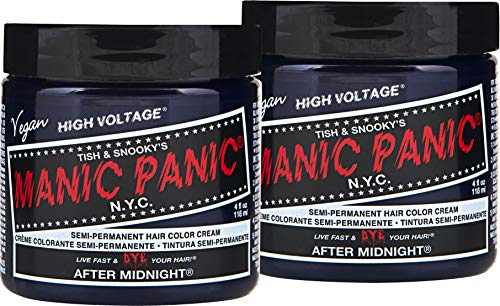 Manic Panic After Midnight Blue Hair Color Cream (2-Pack) Classic High Voltage, Semi-Permanent Hair Dye, Vivid Blue Shad For Dark, Light Hair - Vegan, PPD & Ammonia-Free, Ready-to-Use, No-Mix Coloring