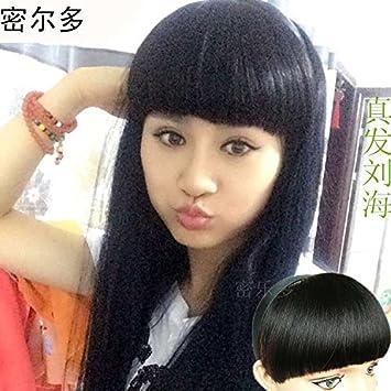 Amazon.com   Human hair bangs hair piece wig bangs head invisible Liu left  no trace of real human hair bangs hair bands oblique bangs   Beauty 47c38c96beed