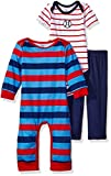 Image of Gerber Baby Boys' 3 Piece Coverall, Bodysuit and Pant Set, Sports, 24 Months