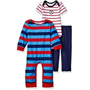 Gerber Baby Boys' 3 Piece Coverall, Bodysuit and Pant Set, Sports, 0-3 Months