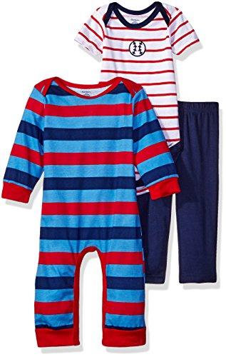 Gerber Baby Boys' 3-Piece Coverall, Bodysuit and Pant Set, Sports, Newborn