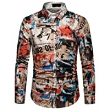 NUWFOR Men's Long Sleeve Graffiti Painting Large Size Casual Top Blouse Shirts(Multi Color,L US/2XL AS Bust:41.7'')