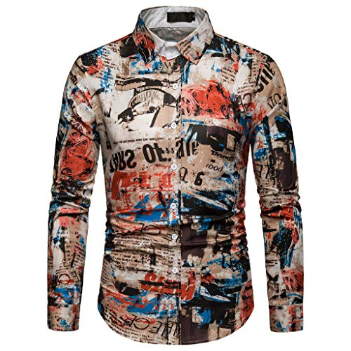 - NUWFOR Men's Long Sleeve Graffiti Painting Large Size Casual Top Blouse Shirts(Multi Color,M US/XL AS Bust:40.1