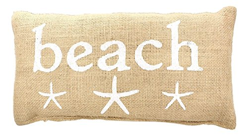 """""""BEACH"""" French Country House Canvas Accent Pillow Cover - White Print with Starfish - 6-in x 12-in"""