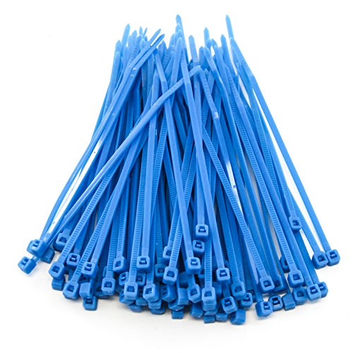 1000 Heavy Duty 4 Inches 18 Pound Zip Cable Ties Nylon Wrap Blue