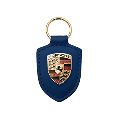 Porsche Crest Blue Leather Keyfob: Automotive