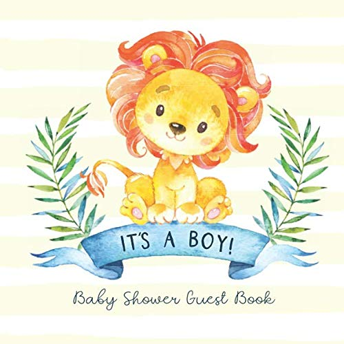 Baby Shower Guest Book - It's a Boy: Jungle Safari Theme Guestbook with Advice for Parents + BONUS Gift Tracker Log and Keepsake Pages | Cute Baby Lion -