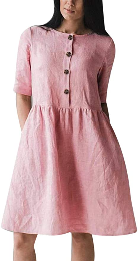 Womens Maxi Cotton Linen Dress Flax Dress Loose Plus Size O-Neck Roll Sleeve Midi Linen Dress Summer Casual Floor Length Pleated Long Cotton Dress Soft Breathable Tshirt Dresses