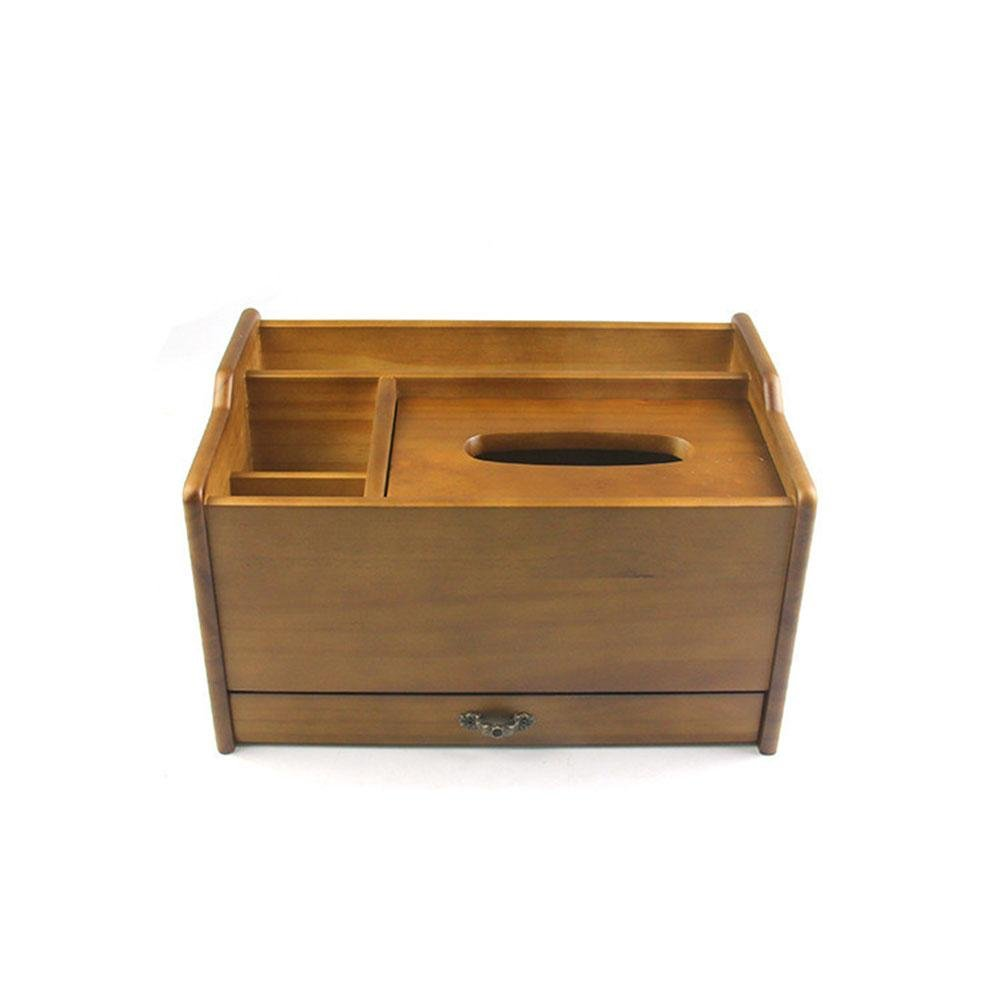 Wooden Multifunction Tissue Box Cover with Drawer Handmade for Home Office Car Decor, imitation patina, 2919.517cm