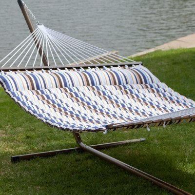 Island Bay 13 ft. Seaside Pillow Top Hammock with Faux Woodg
