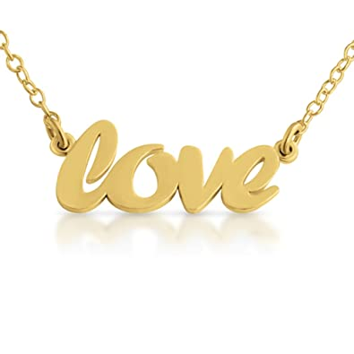 Azaggi Gold Plated Sterling Silver Handcrafted Scripted Word Love Pendant Necklace