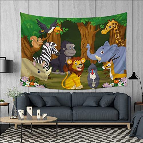 Anhuthree Animal Tapestry Table Cover Bedspread Beach Towel Cartoon Style Elephant Gazelle Giraffe Gorilla Lion Animals Illustration Dorm Decor 71