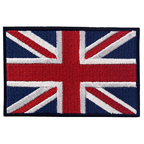 (EmbTao British Union Jack Embroidered Patch England Flag UK Great Britain Iron On Sew On Emblem)