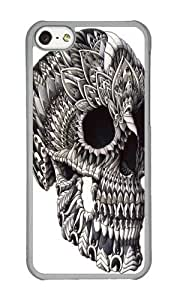 Apple Iphone 5C Case,WENJORS Personalized Ornate Skull Hard Case Protective Shell Cell Phone Cover For Apple Iphone 5C - PC Transparent