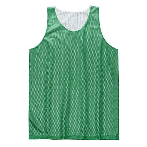 (TOPTIE Men's Tank Top, Reversible Mesh Tank, Basketball Jerseys, Lacrosse Jersey-Green/White-L)