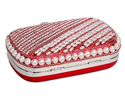 Bridal Clubs Ladies Wedding For Red Glitter Evening Beaded Pearl Purse Party Women Handbag Prom Bag Diamante Clutch Shoulder Bag Gift OxwTa7
