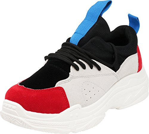 Cambridge Select Women's Closed Toe Retro 90s Ugly Dad Colorblock Lace-Up Chunky Platform Fashion Sneaker,6.5 B(M) US,Red/Black