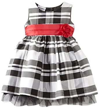 Blueberi Boulevard Baby Girls' Flock Velvet PLD Dress, Black, 24 Months