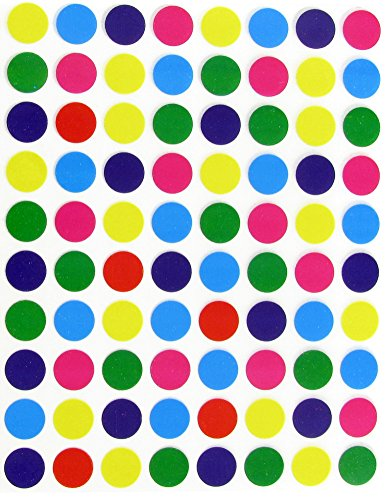 1/2 (0.5) Half Inch Round Color Coding Labels--Value pack Assorted colors Dot Stickers 8 Colors--Blue, Purple, Deep Purple, Green, Orange, Red, Pink and Yellow Dot Labels multi Pack--Classic colors semi gloss (400 Pack)