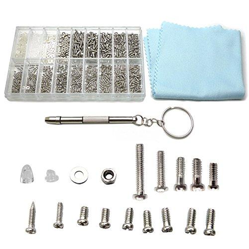 1000Pcs Eyeglass Repair Kit with Screws Nuts Screws Tweezers Cleaning Cloth for Sunglasses Eyeglass Repair Tool Assortment Kit Set