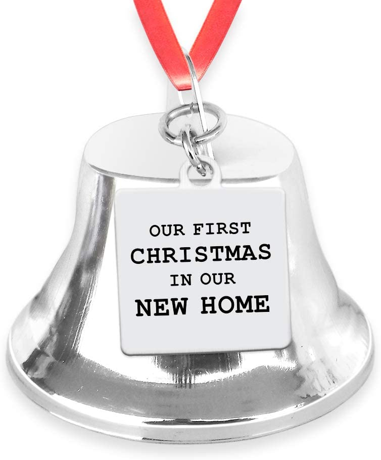Our First Christmas in Our New Home Bell Ornament with Stainless Steel Charm- Xmas Holidays Celebration Decoration Gift for Newly Married, Housewarming Festival Keepsake