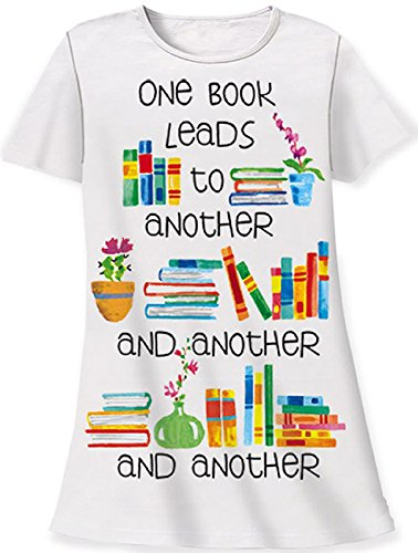 Nightshirt All Cotton One Book Leads to Another White OS