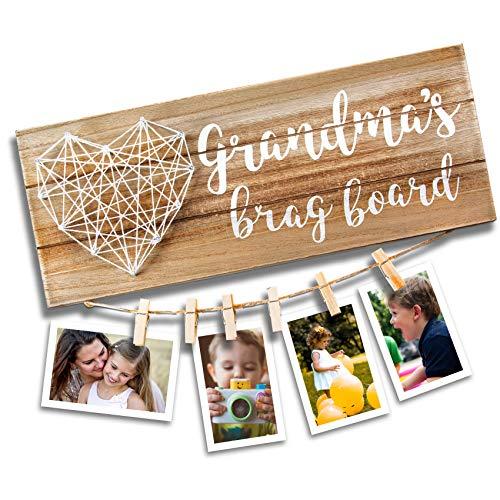 VILIGHT Grandma's Brag Board for Grammy from Granddaughter and Grandson - Nana Grandmothers Photo Holder - 13.5x5.5 Inches (Home Decor For Grandma)