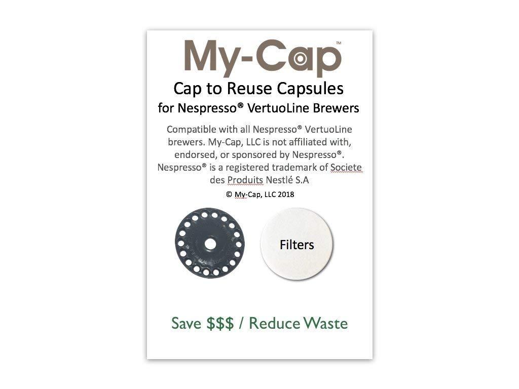 My-Caps Cap to Reuse Capsules for Nespresso VertuoLine Brewers NVCAP1X
