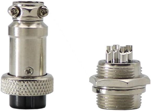 Silver Tone 10 Pcs 4 Pin Metal Male Female Panel Connector 16mm Thread GX16-4 Aviation Plug Connector