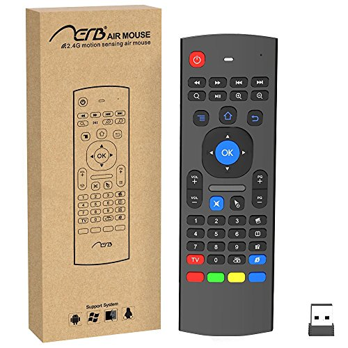 Aerb 2.4G Mini Wireless Keyboard Mouse Multifunctional W Infrared Remote Learning, 3-Gyro and 3-Gsensor, Air Control for Android Smart TV Box G Box HTPC Mini PC ,PS3/4 Xbox 360