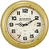 Relógio de Parede Grand Hotel Amarelo em Metal - 42x6,5 cm