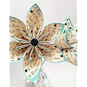 """Set of 2""""I Love You"""" paper flowers- wedding decor, anniversary gift, date night, origami, heart 2"""