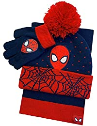 Spiderman Winter Hat Glove & Scarf Set with Gift Box Red/Navy