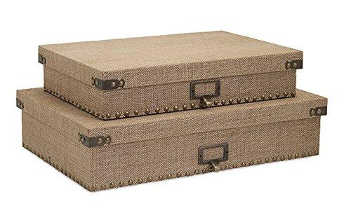 Imax Lidded Box - Imax Set of 2 Kortana Industrial Style Burlap Lidded Document Storage Boxes 18.5