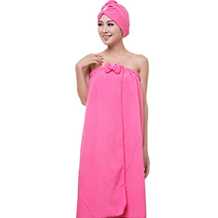 4d7e9d6192 Image Unavailable. Image not available for. Color  Song Qing Women  Absorbent Microfiber Towel Turban Hair-Drying Cap Bathrobe Hat