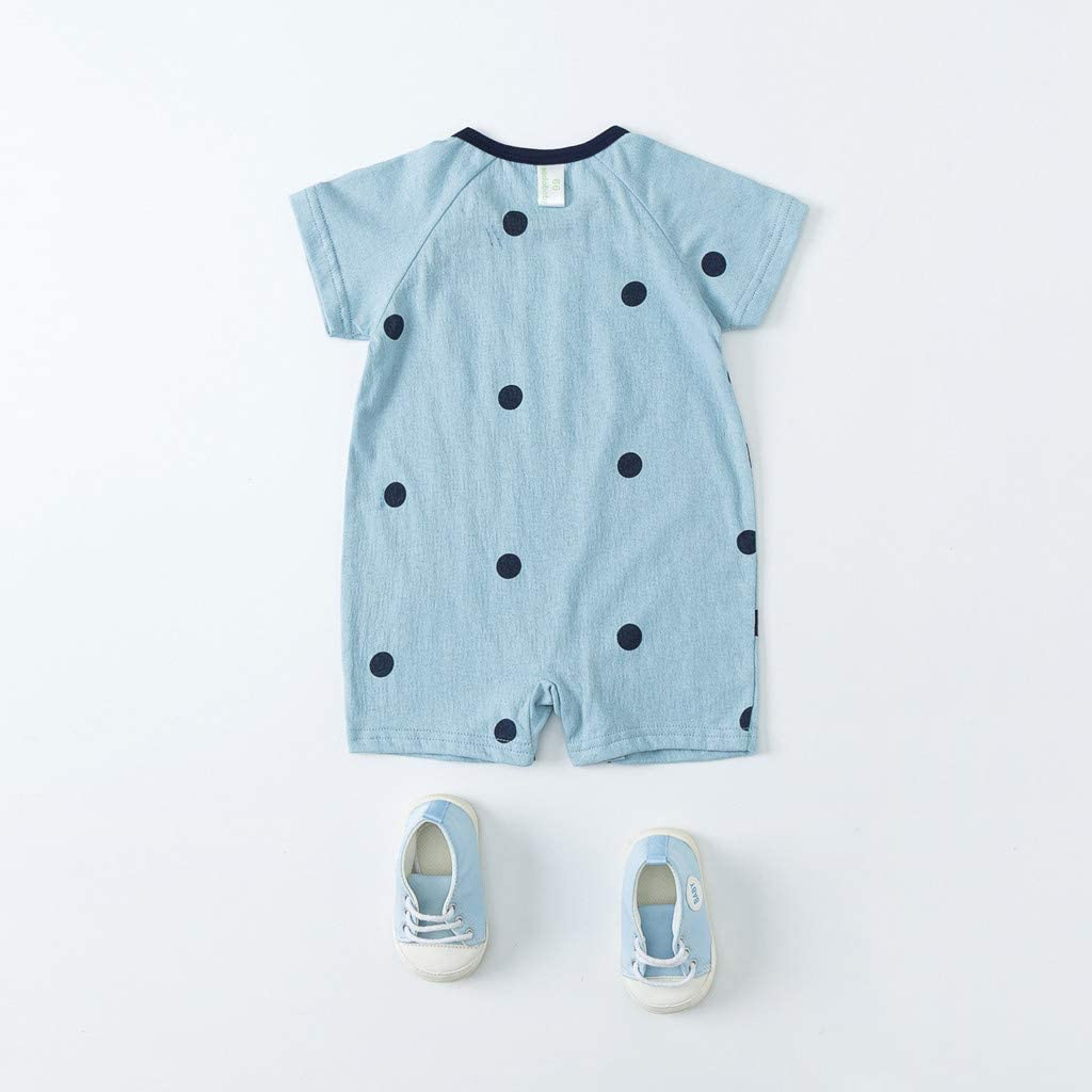 TIANRUN Baby Infant Boy Girl Short Sleeve Cartoon Print Jumpsuit Cute Bear Romper Pajamas Clothes Summer Outfits